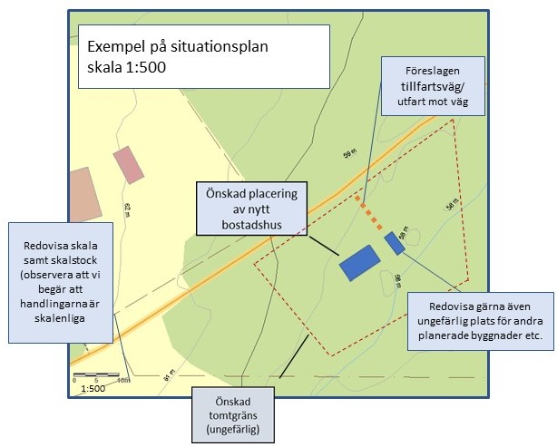 Exempelbild Situationsplan 1:500